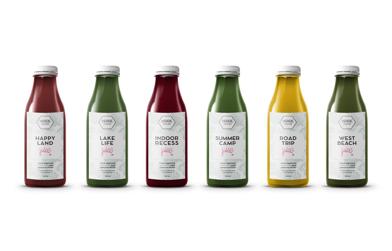Verde Juice Bar Juice Bottle Labels Bigger