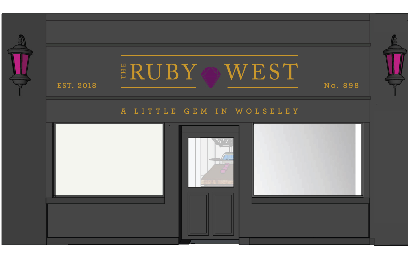 Ruby West Wolseley restaurant exterior sign and facade mockup