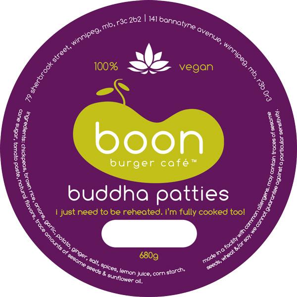 Boon Burger Café Buddha Patty Label