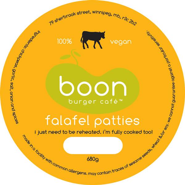Boon Burger Café Falafel Patty Label