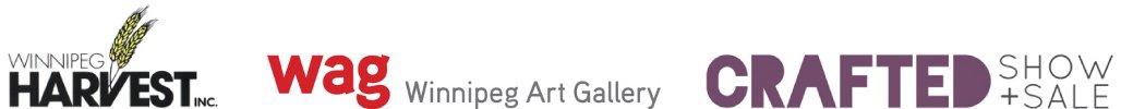 Winnipeg Harvest, Winnipeg Art Gallery and CRAFTED Show + Sale Logos
